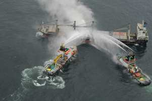 Fire fighting at sea